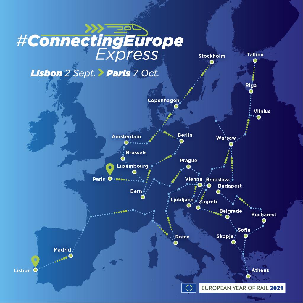 """Οι χώρες απ' όπου θα περάσει το """"Connecting Europe Express""""."""